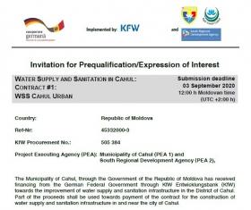 Procedura de Precalificare pentru Contractul Nr.1 ALIMENTAREA CU APĂ ȘI CANALIZARE, ZONA URBANĂ CAHUL